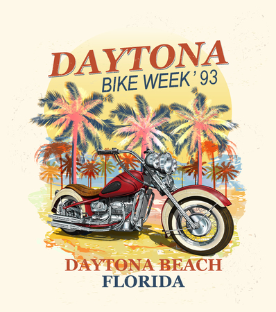 Daytona Beach typography for t-shirt print with palm,beach and motorcycle.Vintage poster.