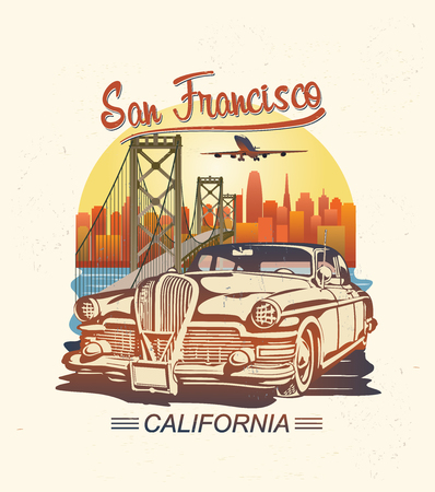 San Francisco typography for t-shirt print with retro car.Vintage poster.