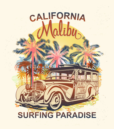 Malibu typography for t-shirt print with palm,beach and retro Woody Car.Vintage poster. Ilustração