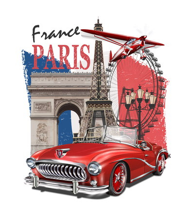 Paris typography for t-shirt print with Eiffel Tower,retro car, and plane.