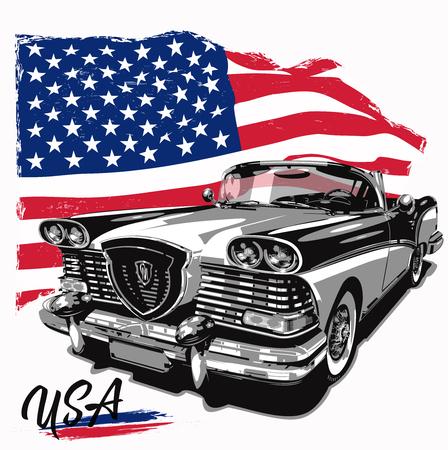 Coche retro con bandera americana, ilustración vectorial