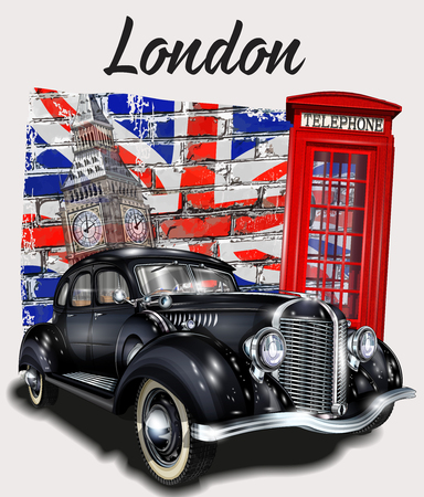 London typography for t-shirt print with Big Ben,retro car and red phone booth.