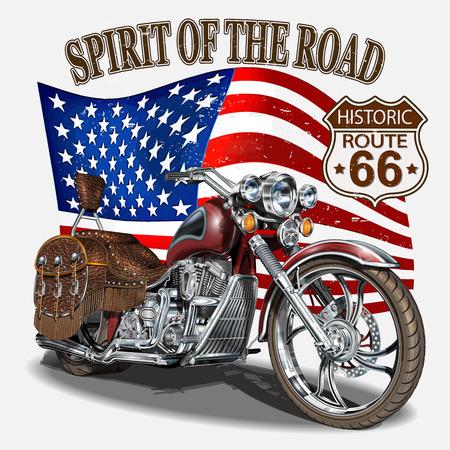 Vintage Route 66 Motorrad Poster, T-Shirt Druck.