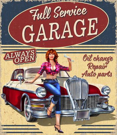 Cartel retro Vintage Garage con coche retro y chica pin-up. Ilustración de vector