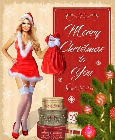 Christmas card with pin-up girl, fir-tree and gifts. Ilustração