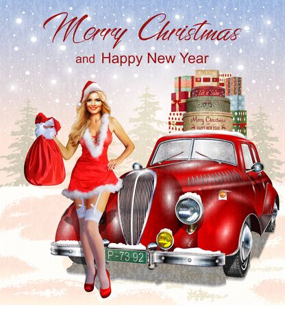 Christmas background with retro car, christmas pin-up girl and gift boxes. Illustration