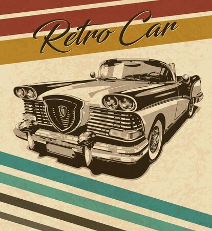 Vintage car on retro background.