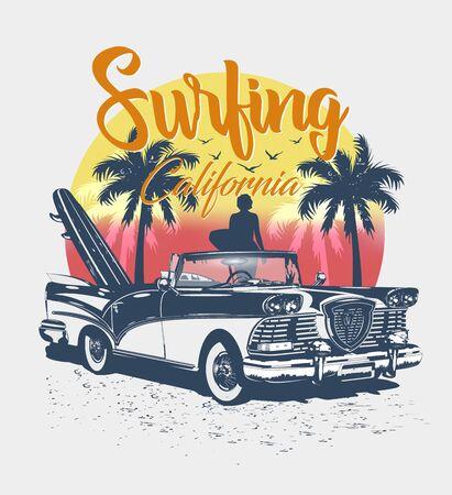Tipografía de California para la impresión de camisetas con surf, playa y retro. Cartel vintage.
