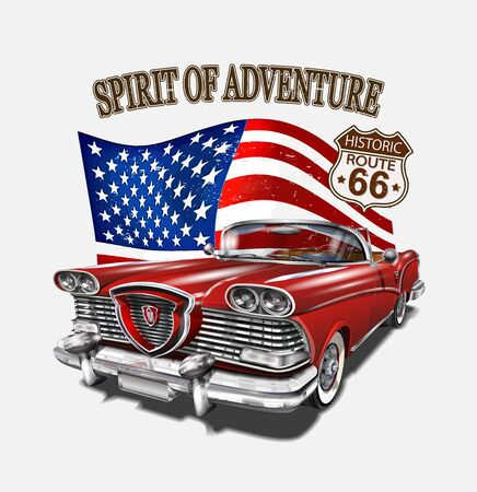 Vintage Route 66 retro car poster, t-shirt print.