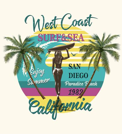 California typography for t-shirt print with surf, beach and girl carrying surfboard.