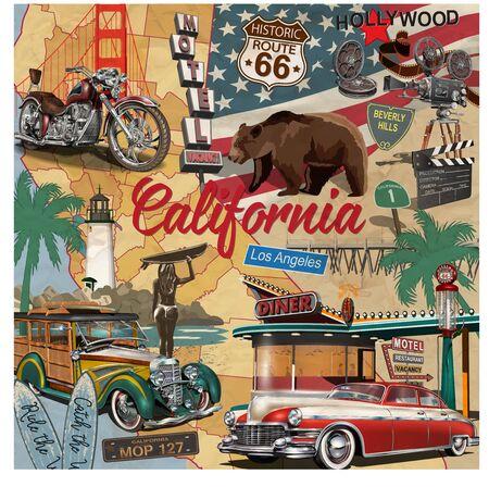 Manifesto dell'annata della California con le attrazioni turistiche sullo sfondo della sagoma della mappa.