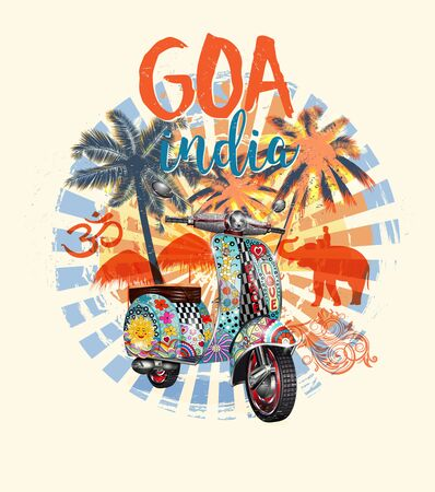 GOA, India typography for t-shirt print with beach, palm, elephant and retro scooter. Vintage poster. Illustration