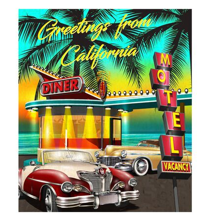 Greetings from California poster with retro American Diner and vintage cars on sunset background. Ilustração