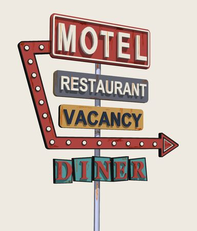 Motel old signage, vintage metal sign. Illustration