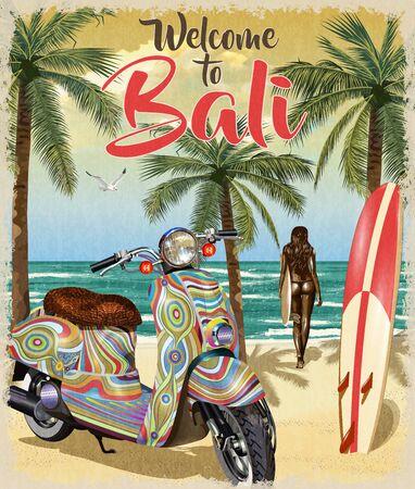 Arrière-plan avec surf, plage, scooter rétro et fille portant une planche de surf. Bienvenue à l'affiche de Bali.