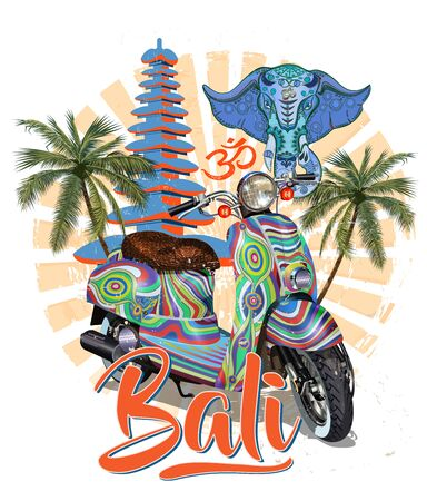 Bali typography for t-shirt print with retro scooter.Vintage poster. Ilustração