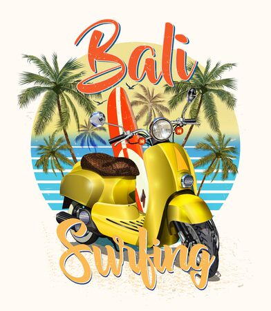 Bali typography for t-shirt print with surf, beach and retro scooter. Vintage poster. Ilustração