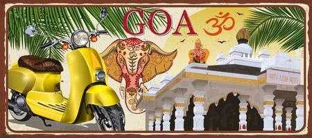 Goa, India vintage metal sign with retro scooter, vector illustration. Ilustração