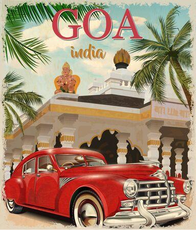 Goa, India vector poster with retro car. Illustration