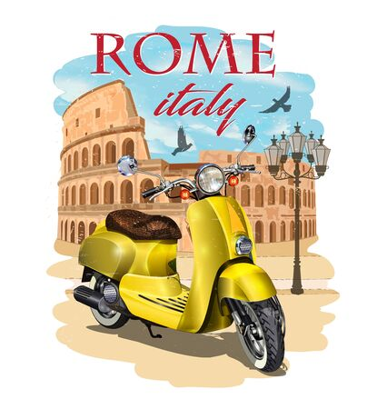 Rome typography for t-shirt print with Colosseum and retro scooter.Vintage poster. Ilustração