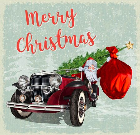 Santa Claus in retro car on vintage background. Merry Christmas postcard. Ilustração