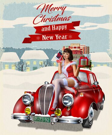 Christmas pin-up girl with gift box in hands while sitting on retro car.Merry Christmas and Happy New Year postcard.