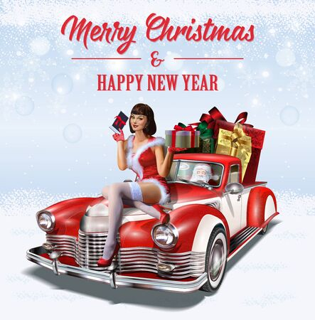 hristmas pin-up girl with gift box in hands while sitting on retro car.Merry Christmas and Happy New Year postcard.
