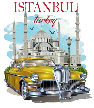 Istanbul typography for t-shirt print with Blue Mosque and retro car.Vintage poster.