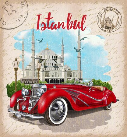 Vintage touristic postcard. Istanbul, Turkey. Retro poster with retro car and Blue Mosque.