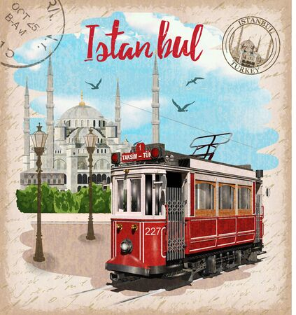 Vintage touristic postcard. Istanbul, Turkey. Retro poster with retro tram and Blue Mosque.