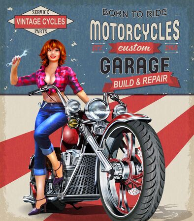 Vintage Garage poster with sexy girl sitting on retro motorcycle.