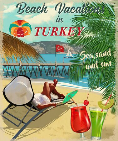 Turkey vector poster with beautiful girl relaxing on beach.