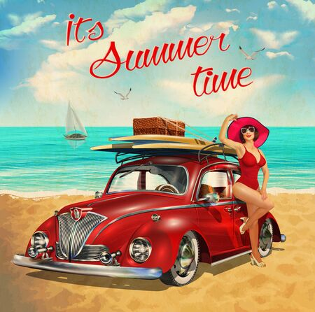 Vintage poster with retro car and beautiful girl on beach. Ilustração