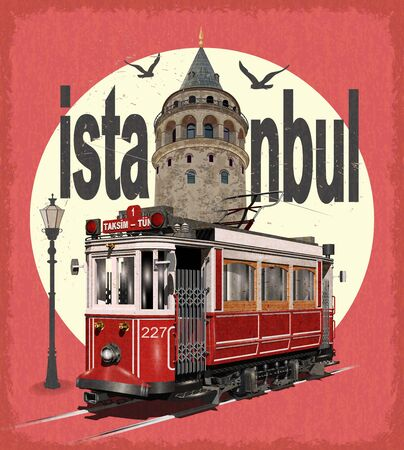 Vintage touristic postcard. Istanbul, Turkey. Retro poster with retro tram and Galata Tower.