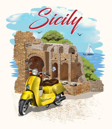 Sicily typography for t-shirt print with ancient ruins and retro scooter.Vintage poster.