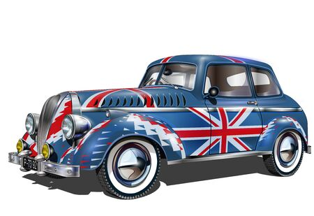 Cars painted up as British flags isolated on white background.