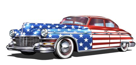Cars painted up as American flags isolated on white background.
