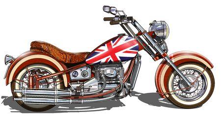 Klassisches Oldtimer-Motorrad als britische Flaggen auf weißem Hintergrund gemalt.