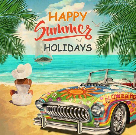 Affiche vintage avec voiture rétro hippie et belle fille sur la plage.
