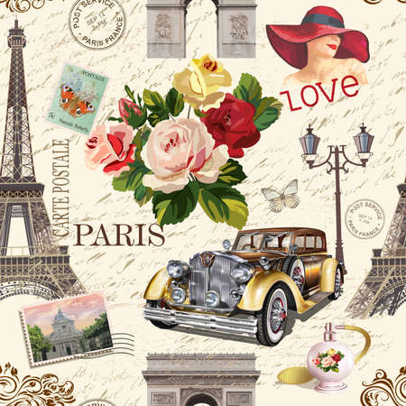 Seamless Paris vintage background with retro car, roses and Paris symbols.