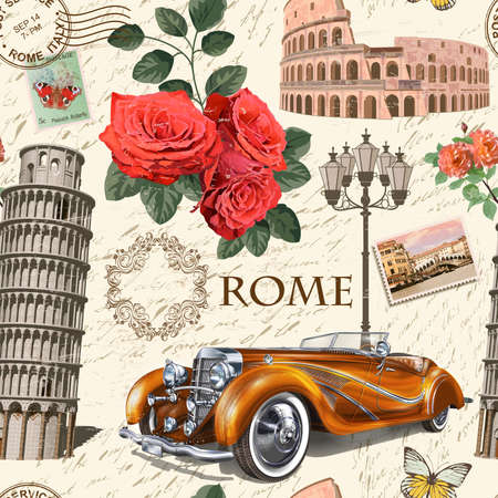 Seamless Italy vintage background with retro car, roses and Italian symbols.