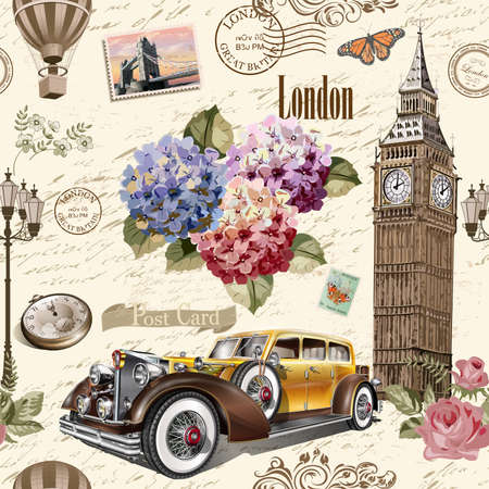 Seamless London vintage background with retro car, roses and London symbols. Ilustração