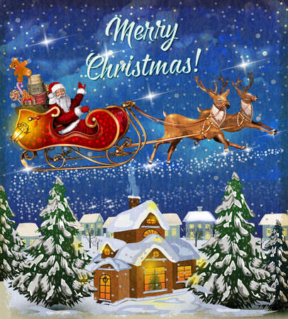 Christmas card with Santa Claus flying in a sleigh with reindeer.Merry Christmas vector illustration.