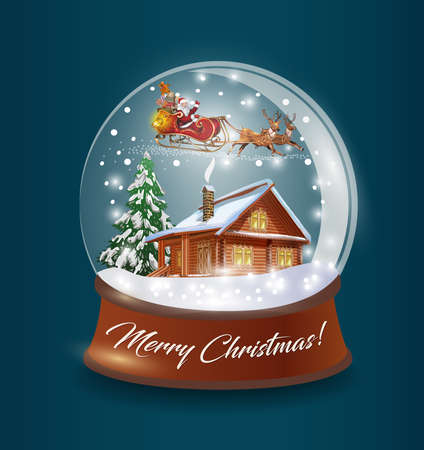 Glass ball with snow, Santa sledding, wooden house and tree inside.