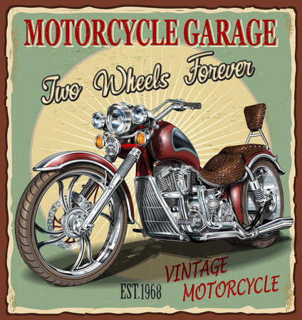 Vintage Garage motorcycle poster.Vector classic motorcycles.