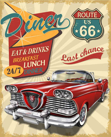 Diner route 66 vintage poster with Diner sign and retro car. Vector Illustratie