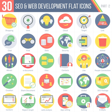 This pack contains 30 SEO and WEB DEVELOPMENT Flat Colorful Round Icons for mobile,desktop and presentations.