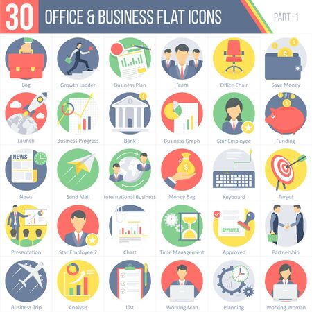 office building: This pack contains 30 Office and Business Flat Colorful Round Icons for mobile,desktop and presentations.