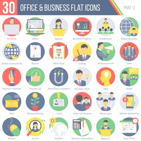 This pack contains 30 Office and Business Flat Colorful Round Icons for mobile,desktop and presentations.