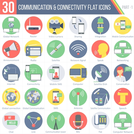 conferencing: This pack contains 30 Communication and Connectivity Flat Colorful Round Icons for mobile,desktop and presentations. Illustration